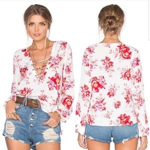 TULAROSA X REVOLVE Floral Lace Up Top Blouse